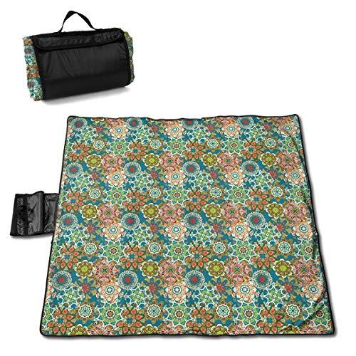 Dataqe Picknick-Decken, 145 x 150 cm, wasserdichte Rückseite, für Picknick, Camping, Mandala, Ethno-Motive