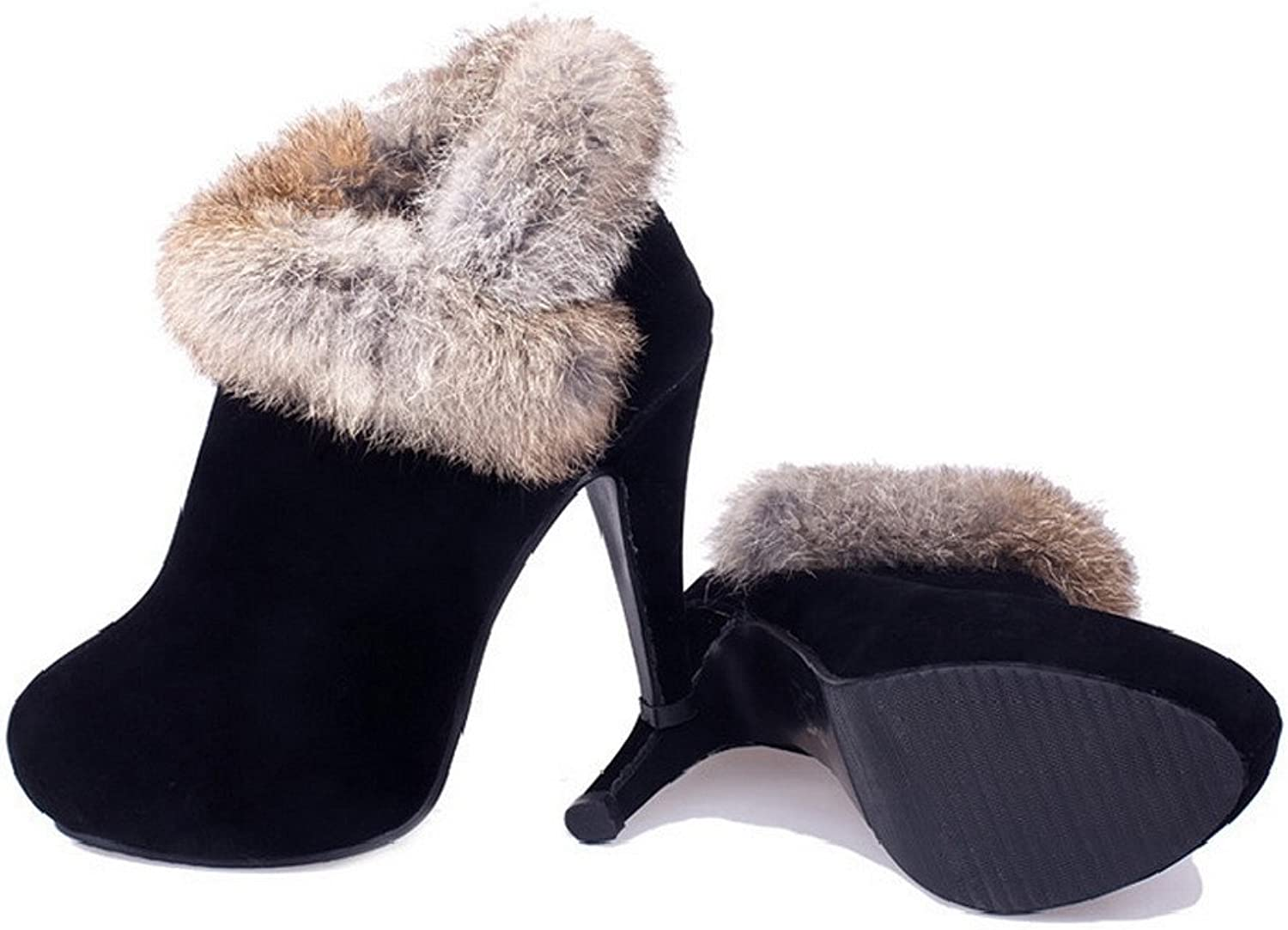 QueenFashion Women's Platform Fur Ornament Cone Heels Frosting Ankle Boots with Zipper