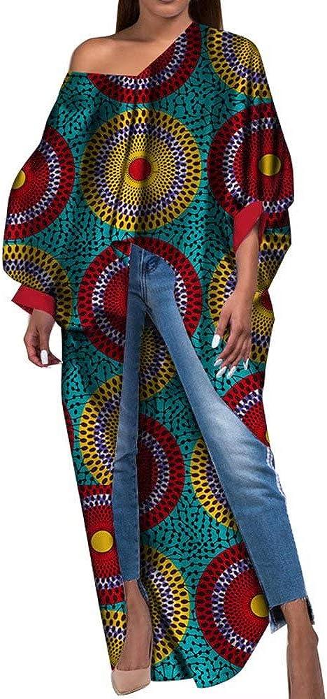 Women's African Dashiki Phoenix Mall Sexy Dresses Long Irregular Hem Japan's largest assortment Sleeves