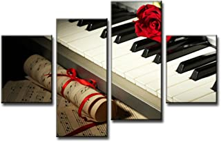 Canvas Print Rose Musical Melody Piano Music Notes Instrument Flower Pictures Contemporary Modern Paintings Wall Art 4 pcs Framed Printed Prints and Posters for Living Room Home Decor, Black White Red