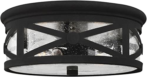 wholesale Sea outlet online sale Gull Lighting 7821402-12 Two 7821402-12-Two Light outlet sale Outdoor Ceiling Flush Mount, Black sale