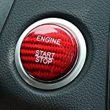 Carbon Fiber Car Engine Start Stop Button Cover Keyless Go Ignition Stickers for...