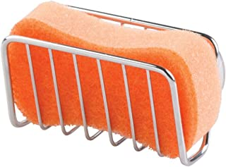 mDesign Metal Farmhouse Kitchen Sink Storage Organizer Caddy - Small Holder for Sponges, Soaps, Scrubbers - Quick Drying O...