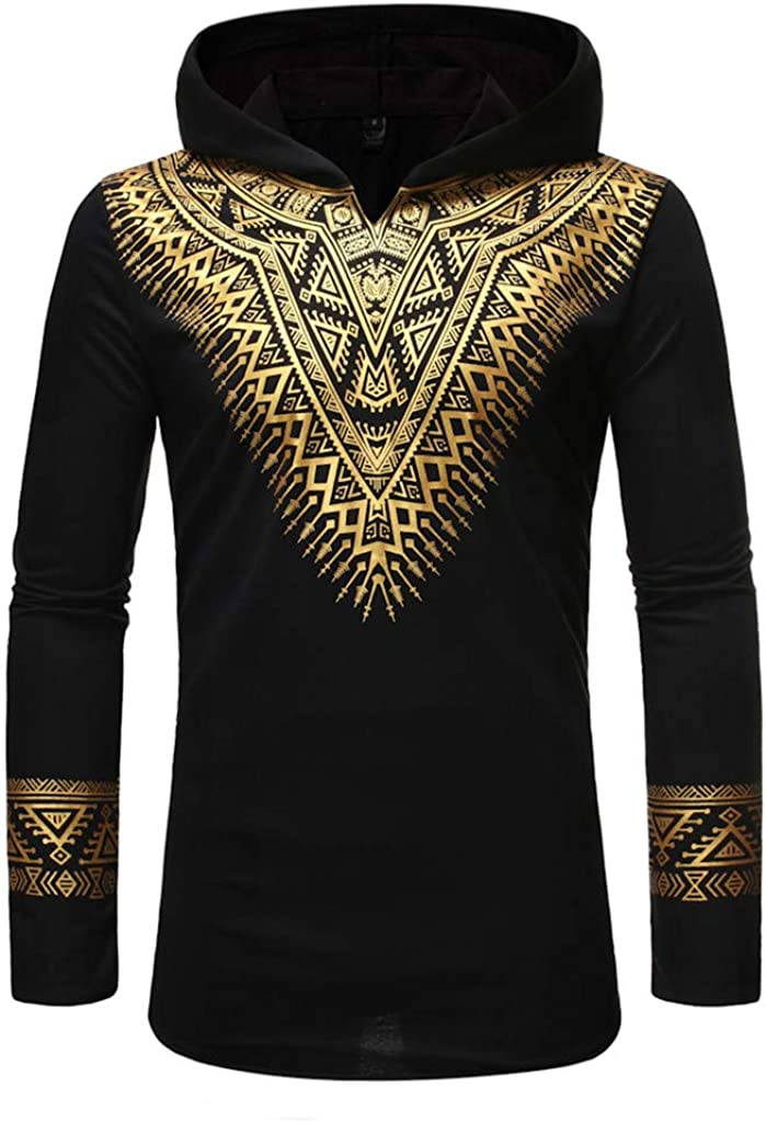 Men's African Sweatshirt Dashiki Cotton Long Sleeve Traditional Ethnic Pocket Shirt