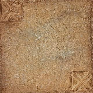 NEXUS Beige Terracotta Motif Center 12 Inch x 12 Inch Self Adhesive Vinyl Floor Tile #421