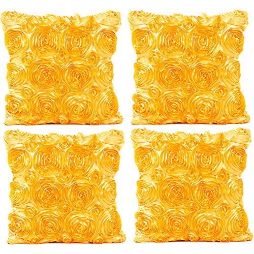 JOTOM Fodera per Cuscino Seta Satinata Colore Solido Rose Federa per Divano Famiglia Soggiorno Camera da Letto Decorazione, 40x40cm, Set di 4 Pezzi(Rose Giallo)
