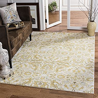 Safavieh Evoke Collection EVK238S Contemporary Ivory and Gold Area Rug (8' x 10')