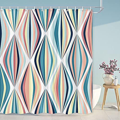 MERCHR Abstract Shower Curtain Retro Mid Century, Modern Shower Curtains for Bathroom Boho Bohemian Cloth Fabric Shower Curtain, Blue Orange Drop Geometric Bathroom Art Decor Set with Hooks 69X70IN