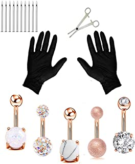 Jconly 20Pcs Professional Piercing Kit Multicolor Steel 14G CZ Belly Navel Ring Body Piercing Set Piercing Tool Piercing Supplies ……