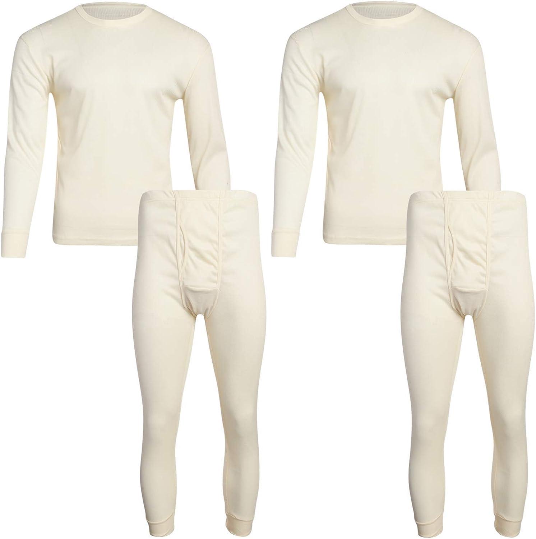 2 Piece, 2 Pack Base Layer Long Sleeve Waffle T-Shirt and Long John Pants Fourcast Mens Thermal Pajama Set Plus