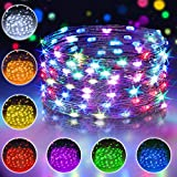 16 Multi Color Changing Fairy Lights USB Powered with Remote Control, 33ft 100 RGB LED Bright Silver Wire Starry String Lights for Christmas Tree, Wedding Party, Indoor, Garden, Bedroom Holiday Decor
