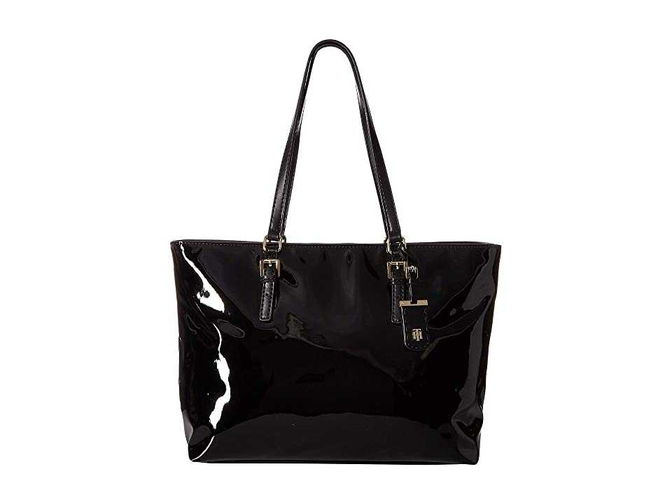 Tommy Hilfiger Julia Patent Tote (Black) Tote Handbags