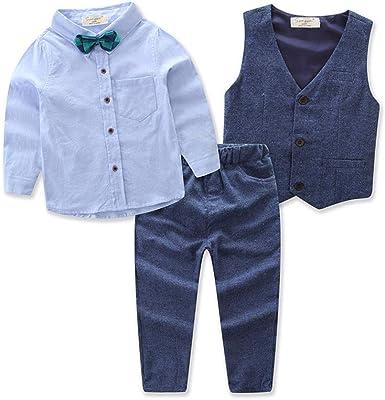 Traje de Niño Conjunto 3 Piezas con Chaleco Camisa de Manga Larga con Corbata de Lazo Pantalones Traje Suit de Bautizo Boda Festivo para Niños (1-7 ...