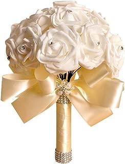 ZTTONE Wedding Bouquet, Holding Flowers Crystal Roses Pearl Bridesmaid Wedding Bouquet Bridal Artificial Silk Flowers (Beige)