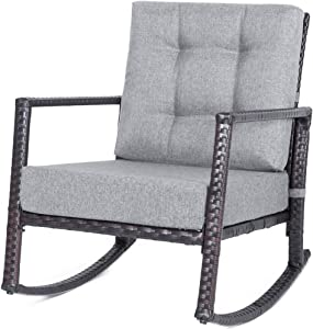 Hommoo Wicker Rocking Chair Outdoor Porch Garden Lawn Deck Wicker All Weather Steel Frame Rocker Patio Furniture w/Cushion, Gray
