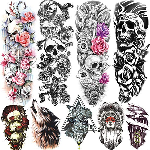 Rejaski 9 Sheets Halloween Evil Dead Death Skull Full Sleeve Temporary Tattoos For Women Men Skeleton Rose Flower Arm Leg Extra Long Fake Face Tattoo Waterproof Realistic Tribal Wolf Temp Tatoo Paper