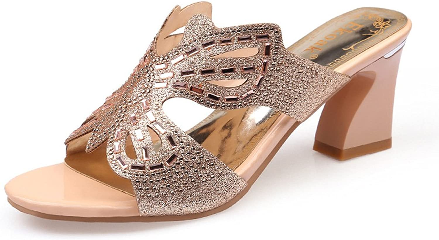 GenePeg Women's Chunky Heeled Sandals Slip-On Crystal Sexy Butterfly Slides Party shoes