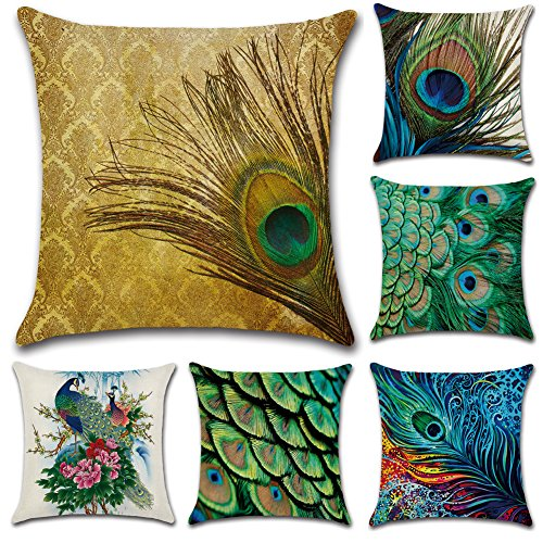 JOTOM Cotton Linen Peacock Feathers Pillow Case Cover Cushion Cover for Home Bedroom Sofa Car Decor 45 x 45cm, Set of 6 (Peacock)