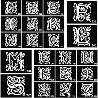 26 Pieces English Letters Airbrush Tattoo Stencils for Body Painting Glitter Temporary Tattoo Sticker A-Z Drawing Templates 10 X 7cm