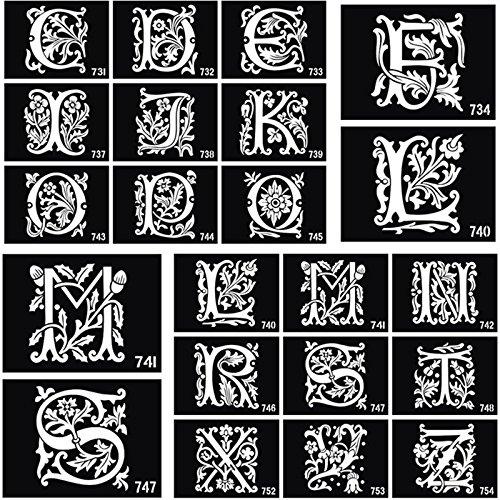 26 pièces English lettres aérographe Tatouage Pochoirs pour corps Peinture Paillettes Tatouage Temporaire Autocollant A-Z Dessin modèles 10 x 7 cm