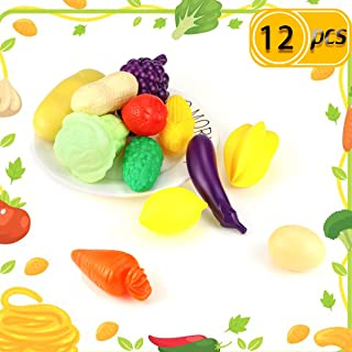 Newbested 12 PCS Fruits Play Food Playset Funny Food Toy Fruits & Vegetables Kitchen Food Playset