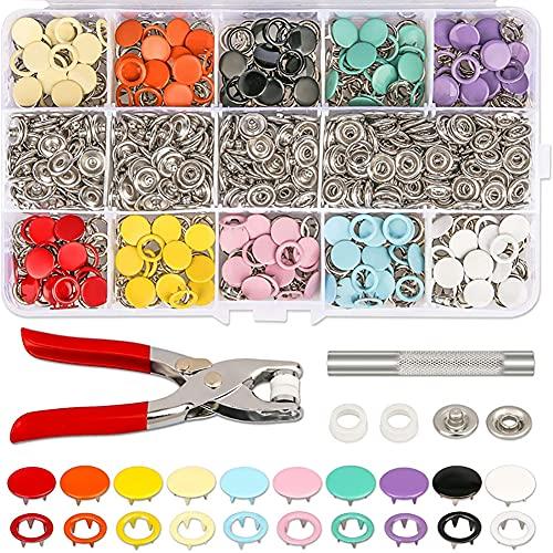 JINJO Botones de metal con pinzas de sujeción, juego de prensa de botones de metal con pinzas de sujeción, kit de herramientas de prensa para coser y manualidades (10 colores)