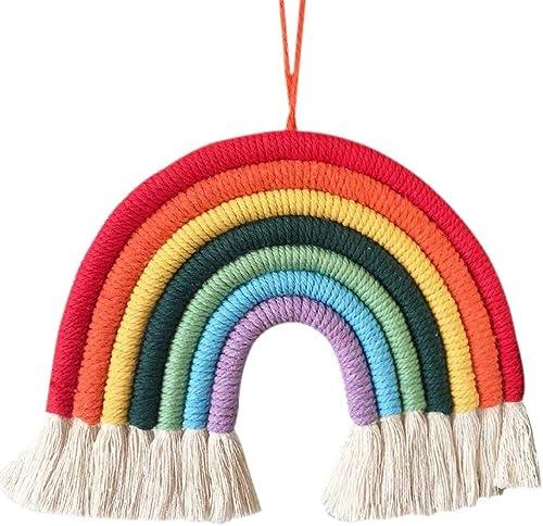 Arcoiris Colgante Pared,Tapices de Arco Iris Tejido a Mano Arco Iris Borla Dormitorio Tapiz Rainbow Colgante de Pared...