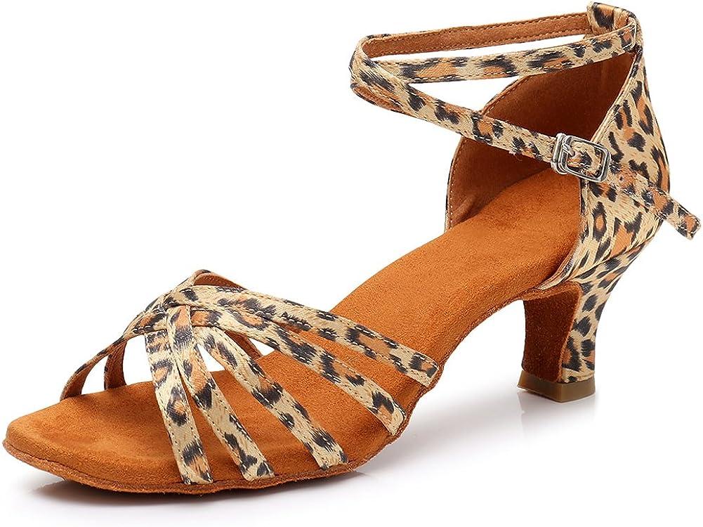 SWDZM Women's Latin Dance Shoes peep-Toe Standard Ballroom Chach