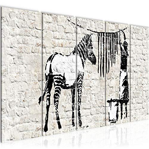 Cuadro Banksy Lavado Cebra Impresión de arte Cuadro in Lienzo no Tejido Sala Dormitorio 012956a