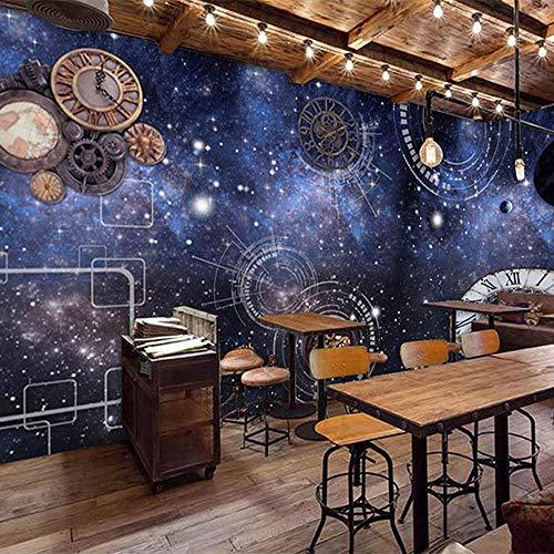 Tapete 3D Fototapete 3D Sternenhimmel Dekoration Kosmische Uhr Industrielle Ausrüstung Fototapete Bar Café Restaurant KTV Hintergrund Wandtuch
