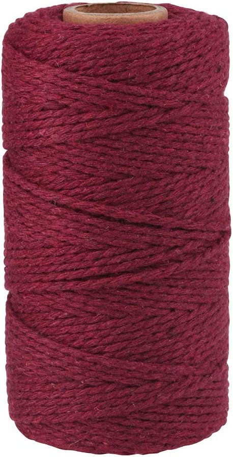 Colored String for Crafts 3 Pack Raspberry Pink, 2MM Strong Premium 985 Ft Cotton Twine