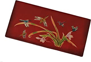 BPLeathercraft Genuine Leather Checkbook Cover, Dragonflies & Iris Flower Pattern (Red)