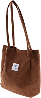 F Fityle Retro Women's Durable Canvas Tote Large Capacity Handbag Corduroy Casual Shoulder Bags