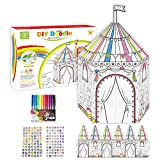 3D Coloring Painting Puzzles Set DIY Arts and Crafts for Girls,Kids Crafts(Cardboard Playhouse 3D Puzzles,12 Color Watercolor Pen,188 Gem Sticker) 3 in 1- Gift for Girls Age 4-10