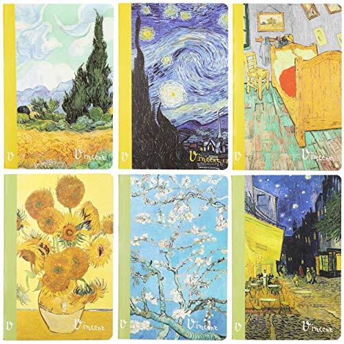 The Gifted Stationery, taccuino a righe formato A5, design Van Gogh, copertina morbida, confezione da 6