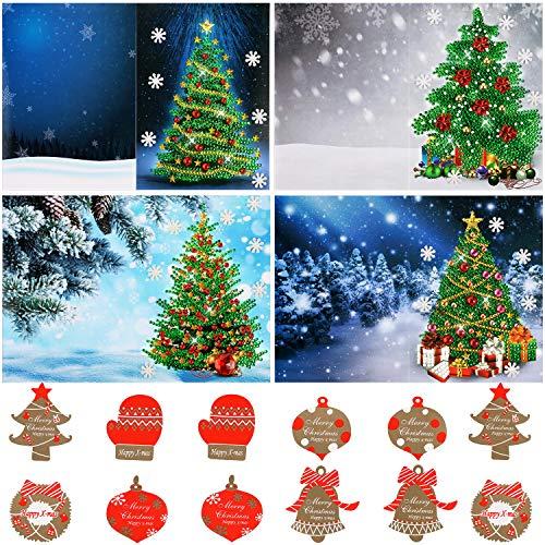 4 Pezzi Cartoline Natalizie 5D Diy Diamante Pittura Biglietto d'Auguri Albero di Natale Cartoline con Adesivi Natalizi per Regali di Auguri di Natale