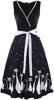 Là Vestmon レディースレトロパーティードレス猫プリントVネックノースリーブ50sパーティーカクテル結婚式のためのヴィンテージドレス