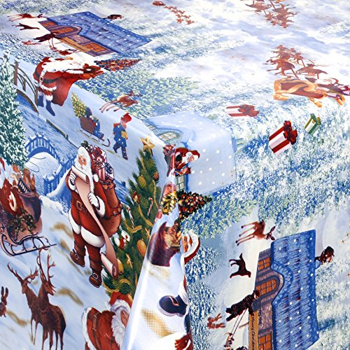 WACHSTUCH Tischdecken Gartentischdecke mit Fleecerücken Gartentischdecke, Pflegeleicht Schmutzabweisend Abwaschbar Weihnachten Weiss Motive 180x 140 cm - Größe wählbar