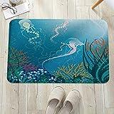 Alfombrilla de baño antideslizante, para baño o ducha,Acuario, Medusas Artísticas Nadando Bajo El Mar Arrecifes De C, alfombra de suelo absorbente, para sala de estar, sofá, cojín, caucho, 60 x 100 cm