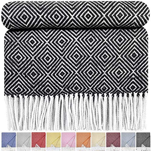 STTS International Baumwolldecke sehr weiches Plaid Wohndecke Kuscheldecke in versch. Farben Baumwolle Marbella Anthrazit-V (140 x 200 cm, Anthrazit-V)