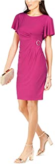 Jessica Howard womens 3/4 Ruched Cuff Sleeve Sheath with Tulip Hem Casual Night Out Dress