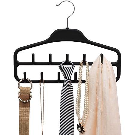 Belt Hanger Rack Holder for Closet, Sturdy Belt Organizer with 360 Degree Swivel, 11 Large Sturdy Belt Hooks, Non Slip Rubberized Belt Storage, Black