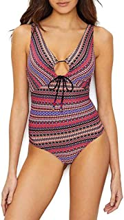Anne Cole Women's Keyhole Plunge Stripe One Piece Swimsuit