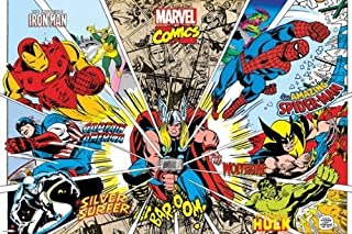 Marvel Comics - Rays Of Characters 36x24 Poster Art Print Iron Man Thor Hulk Spiderman Captain America Wolverine Silver Surfer
