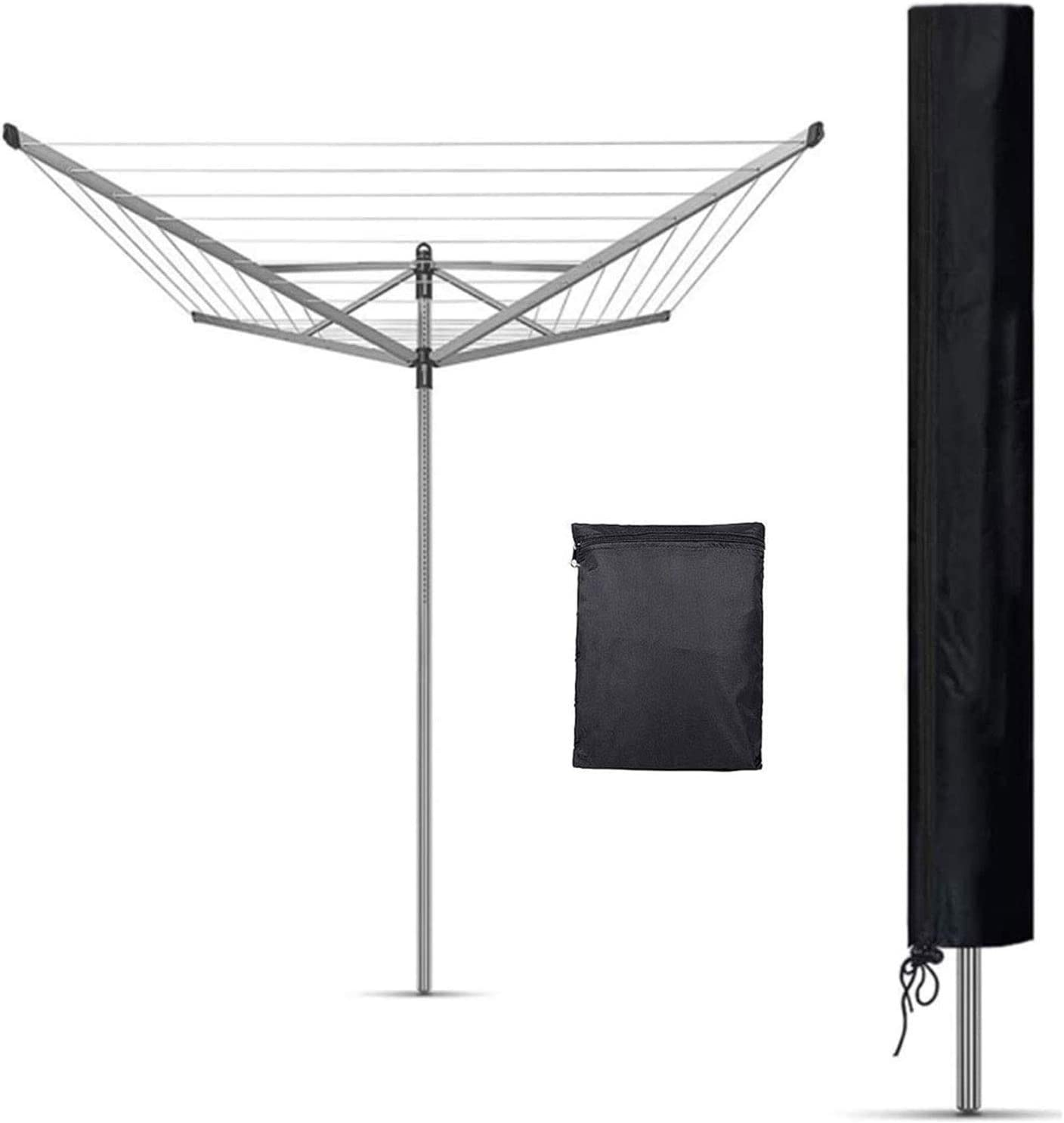 Rotary Washing Line Cover Waterproof Washing Line Cover Outdoor Umbrella Drying Rack Cover Shunfaji Protective Cover for Rotary Dryer Washing Lines Oxford Fabric Waterproof with Zip Silver