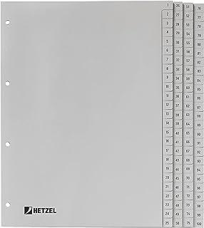 King Mec 721311 Index en polypropylène A4 1-100 Gris