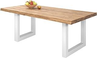 comprar comparacion COMIFORT Mesa de Comedor - Mueble para Salon Oficina Despacho Robusto y Moderno de Roble Macizo Color Ahumado, Patas de Ac...