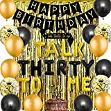JOYMEMO Decoraciones para el 30 cumpleaños - Globos de Guillotina de Oro Negro Talk Thirty to Me Topper de la Torta Banner de Feliz cumpleaños, Cortinas con Flecos de Papel Dorado