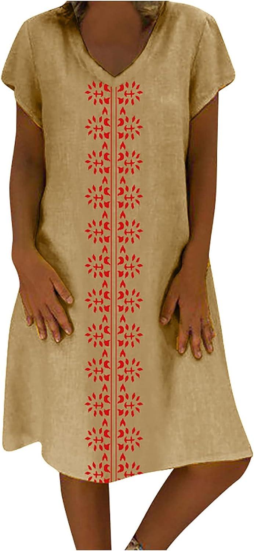 Women's Short Sleeve V-Neck Midi Straight Dress Retro Printed Casual T-Shirt Slim Dress Summer Beach Basic Sundress