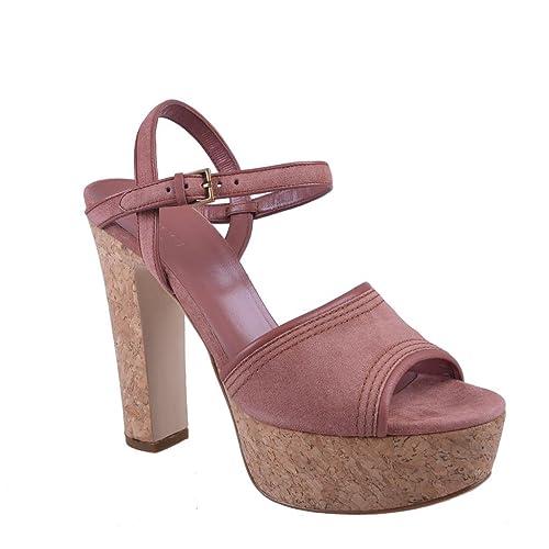 09ee861b838 Gucci Women s Pink Suede Open Toe High Heel Platform Sandals Shoes